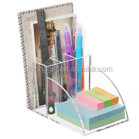 Clear Acrylic Desktop Office Supplies Organizer w/ Post It Note Pad Holder, Mail Storage & 3 Pencil Slots