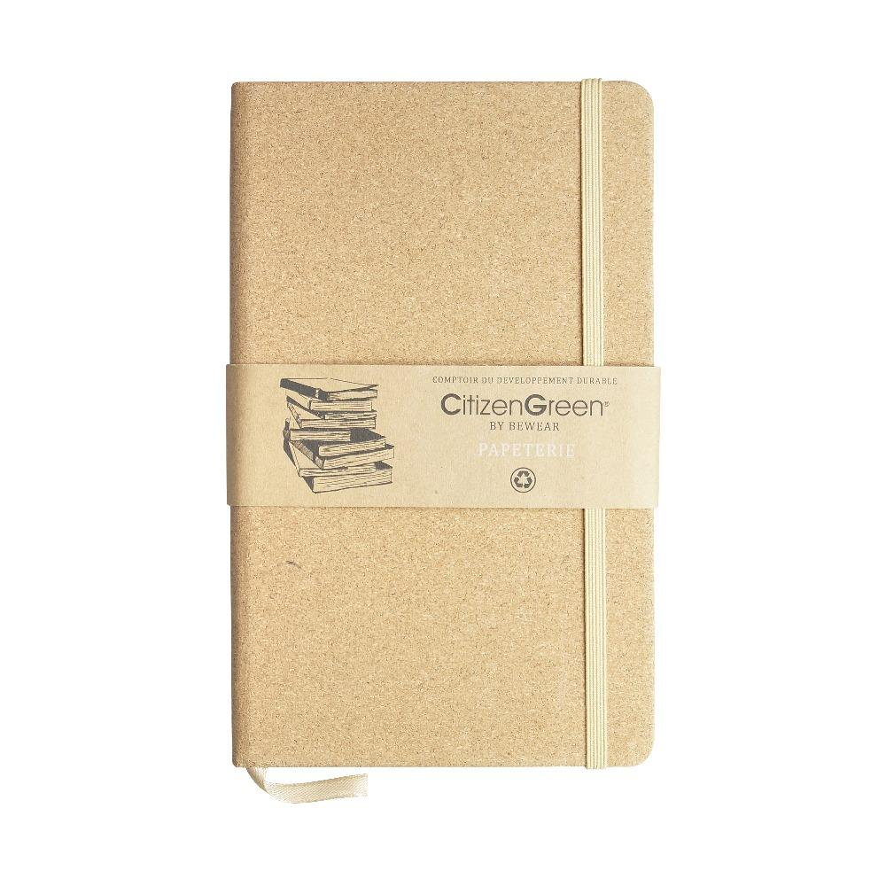 Eco-friendly Product Corkcover Notebook Recycled Paper Ribbon Bookmark Elastic Band Closure
