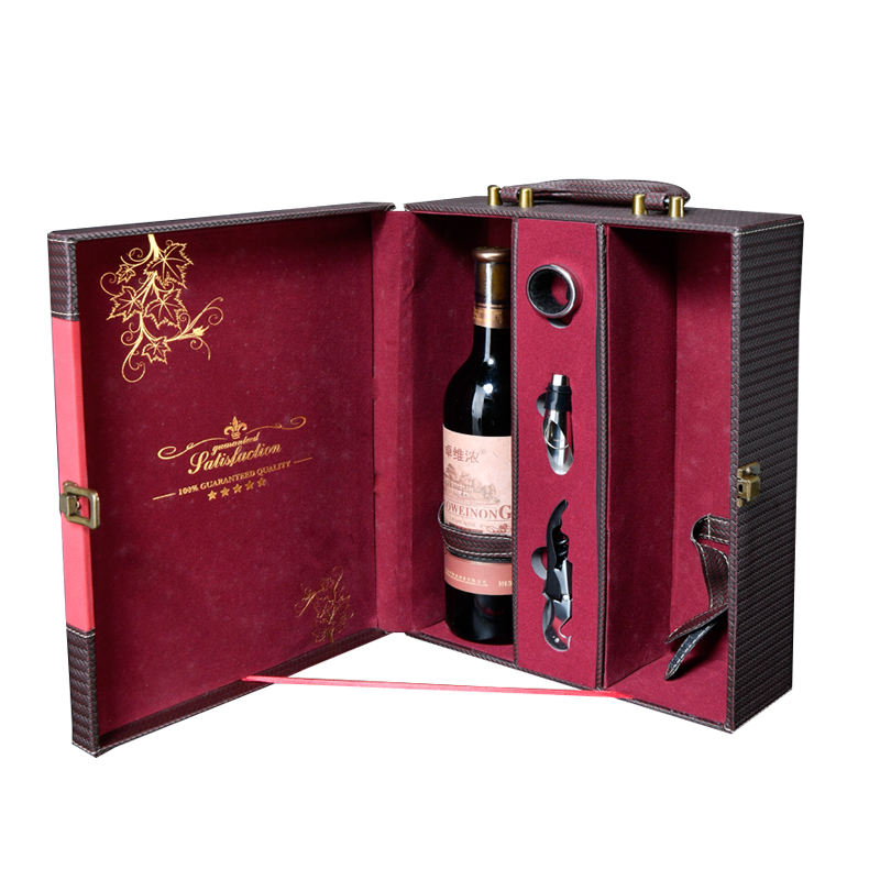 Custom wholesale black pu leather luxury gift packaging wine box classical red premium box bottle for wine