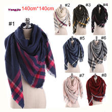 HOT!!! 2016 Winter new arrival trendy large oversize 140*140cm square acrylic thick tartan plaid scarf women pashmina wholesale