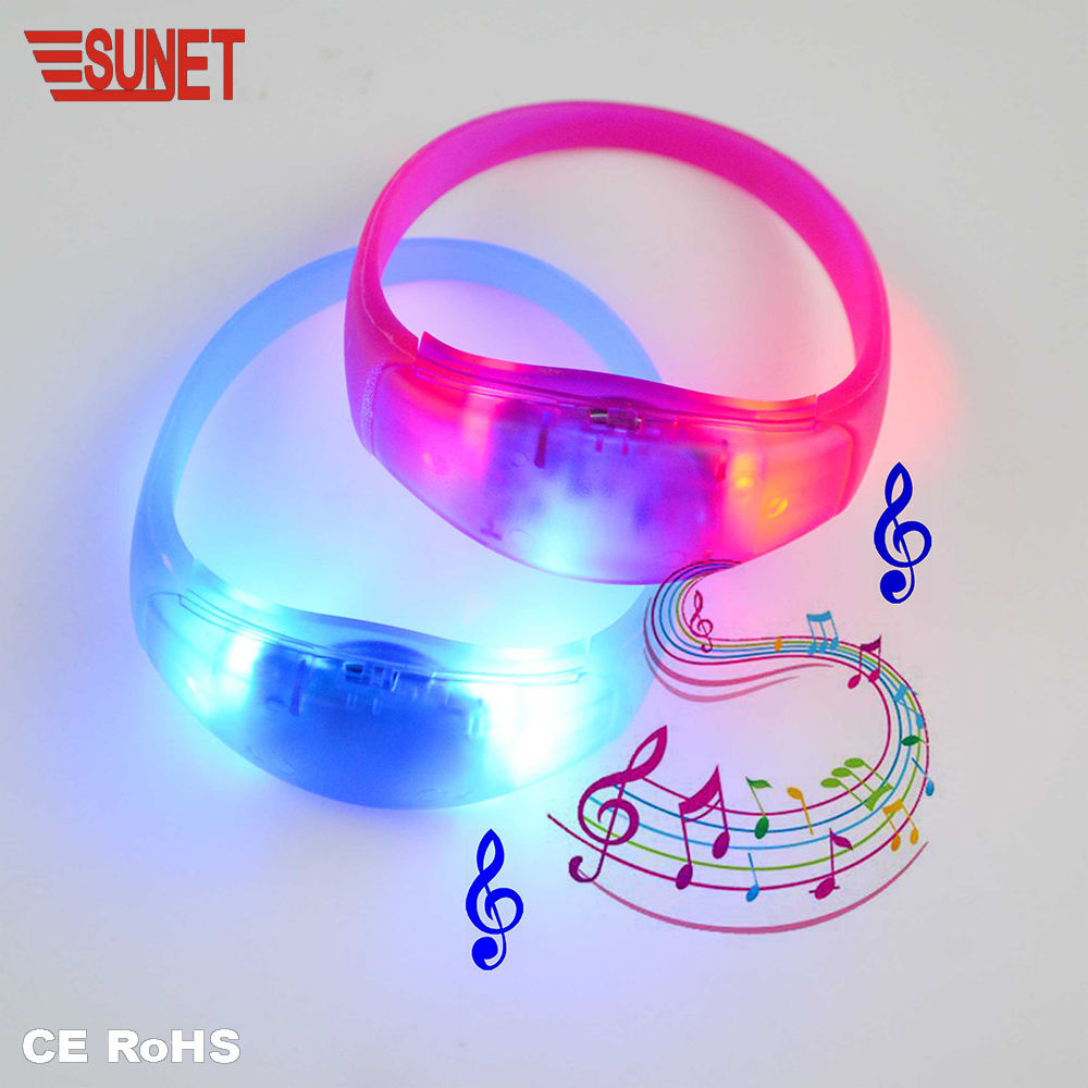 SUNJET Custom Logo Party Favor Sound Activated Led Silicone Bracelet, Concert Motion Activated Led Wristband