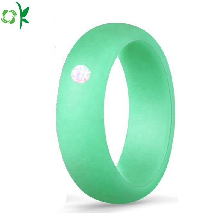OKSILICONE 10 Pack Unique Set Diamond Ring Silicone Wedding Bands for Women
