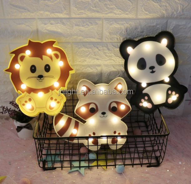 2018 New Cute Printed Cat Panda Lion Animal Shaped Night Light LED Marquee For Kids Bedroom Home Decor