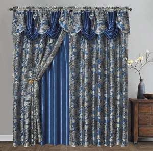 jacquard curtain with attached valance, Jacquard Valance Fabric Curtains With Taffeta Backing And Tassels