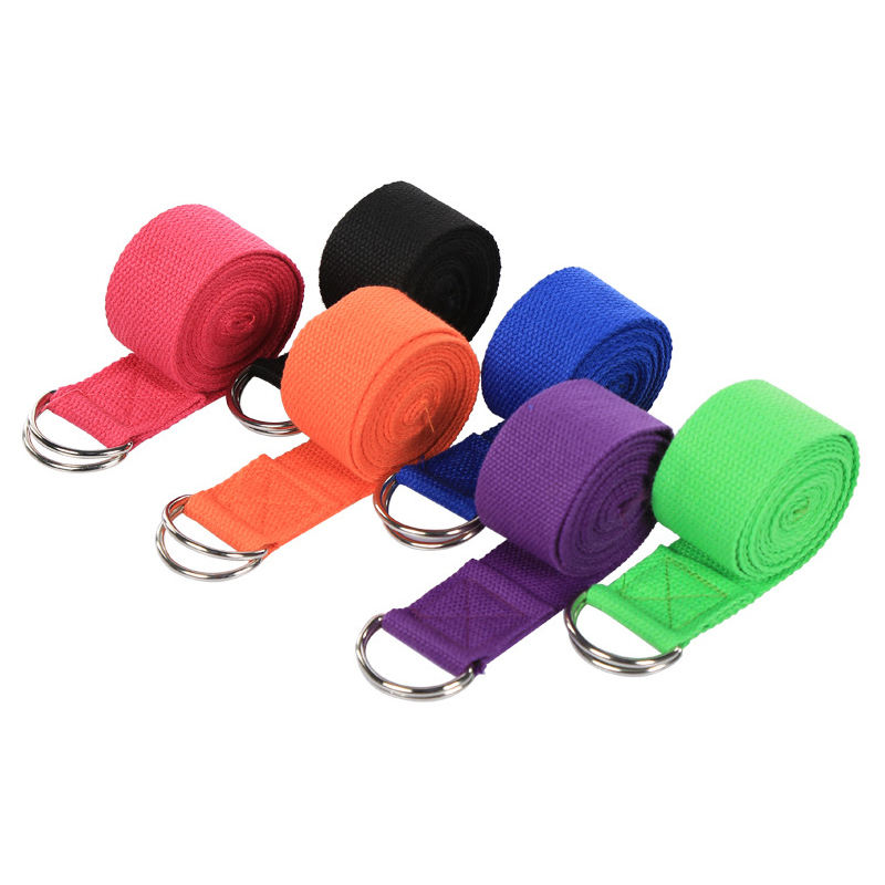 Adjustable Durable Cotton 8 FT Fitness Exercise Yoga Strap with Metal D-Ring