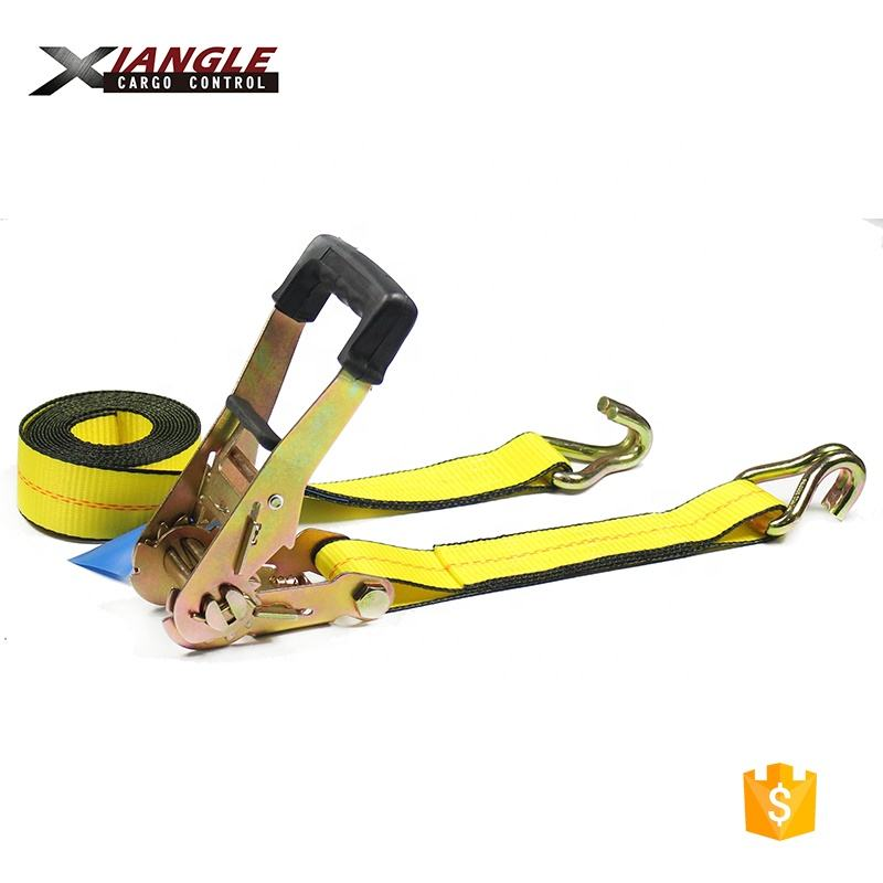 "2"" 25ft 27ft 30ft Ratchet Tie Down Strap Tensioner for cargo securing with double J hook"