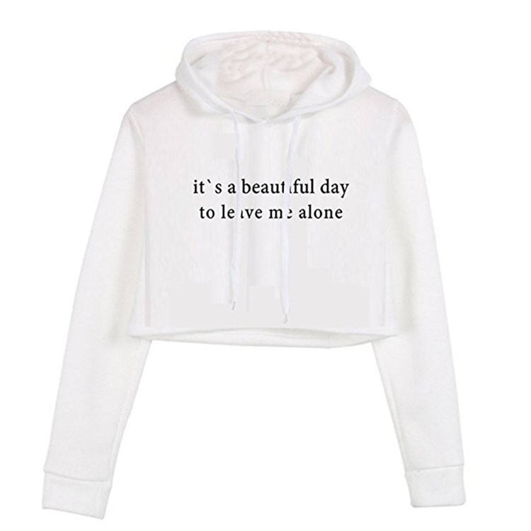 wholesale custom long sleeve sweatshirts hoody pullover women crop top hoodies