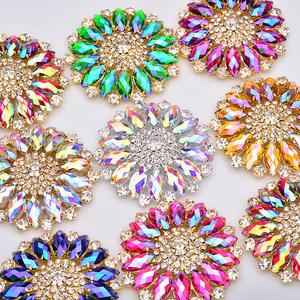 50mm Sew On Crystal AB Glass Rhinestone Applique Big Flower Strass Sewing Crystal Stones For Dress Shoes Crafts