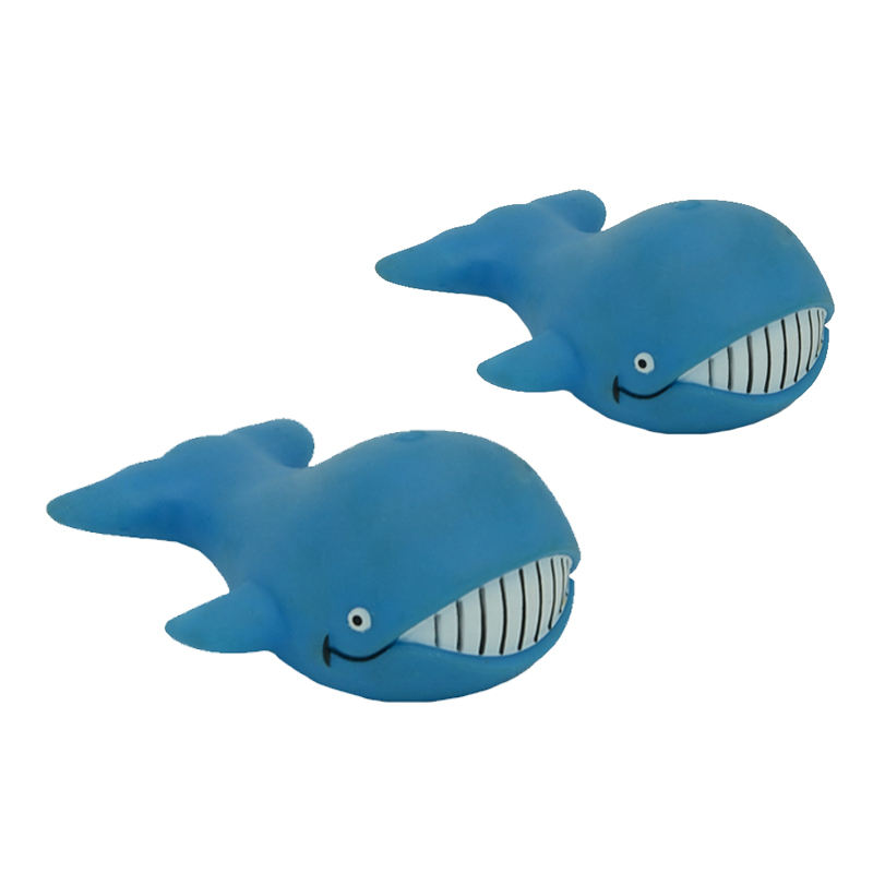 Promotional high quality pvc material floating blue whale whistle bath toy for child