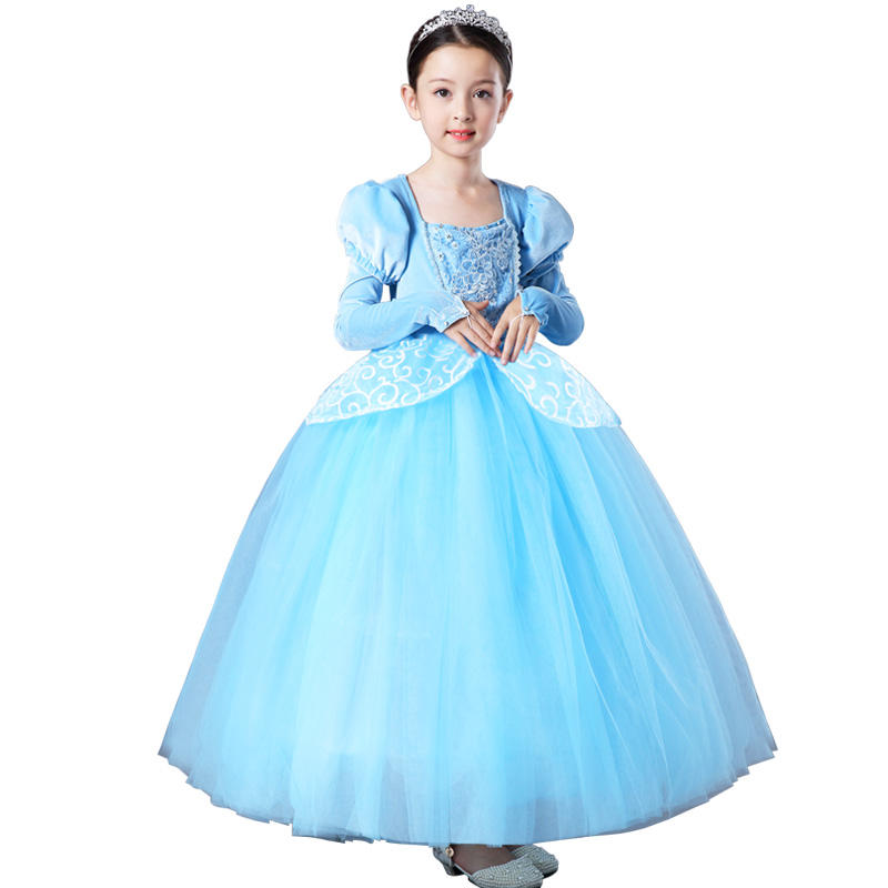 Girls Princess Cinderella Long Dress kids Christmas Ball Gowns Children Role-Play Costume Cosplay Clothes