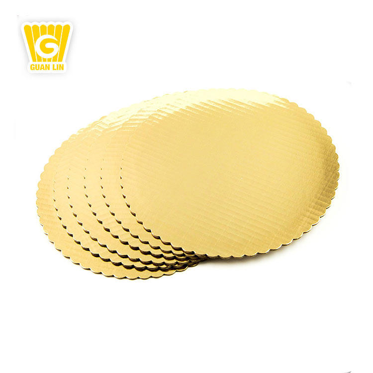 Professional large custom decorative gold round foil paper cover drum cake board