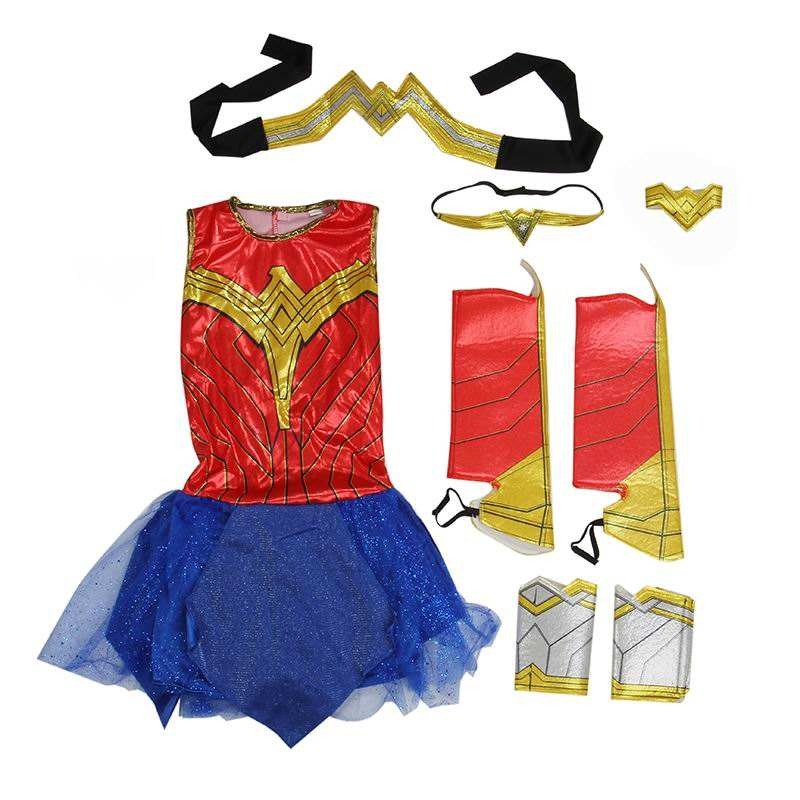 Weihnachten Halloween Supper Hero Kostüm Wonder Woman Cosplay Kostüme Mädchen Phantasie Party Kleid Justice League Cosplay