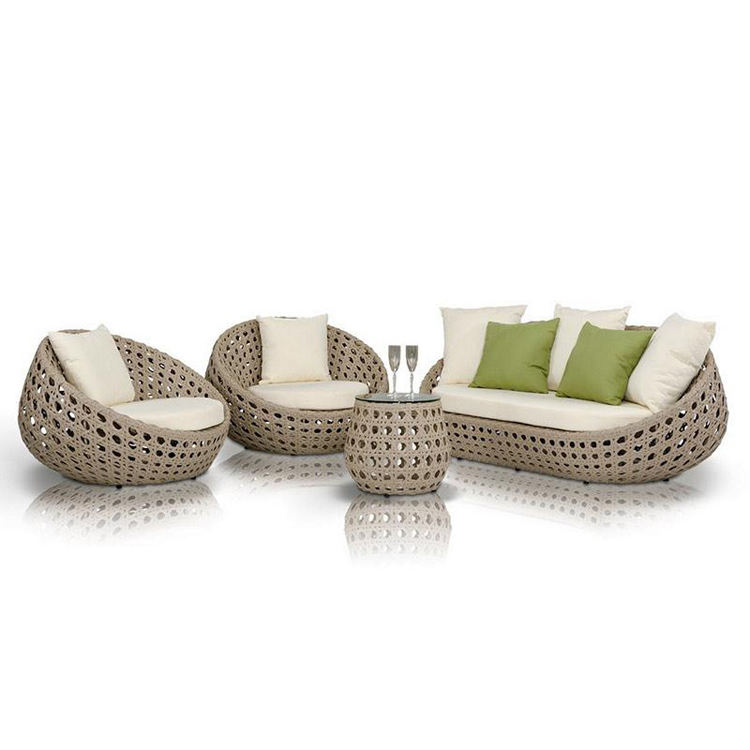 Cheap Patio Rattan Furniture Garden Couch Set Wicker Lounge Modern Outdoor Sofa