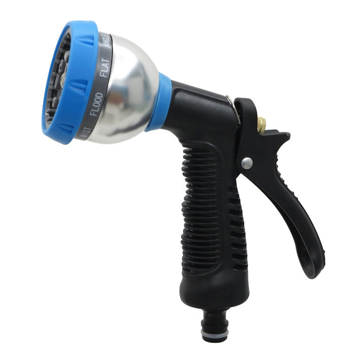Most popular 9 functions thumb control plastic garden water spray gun hose nozzle for lawn and pets