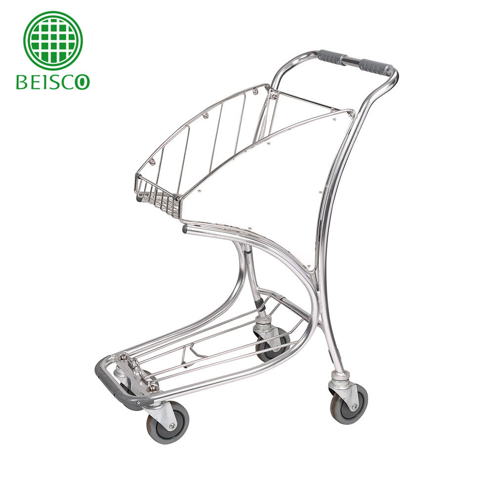 Four wheels stainless steel airport baggage carts