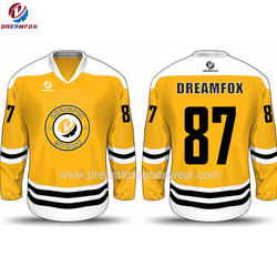 sublimation customized mesh hockey jersey Montreal canadien mesh quick dry yellow ice hockey uniform design