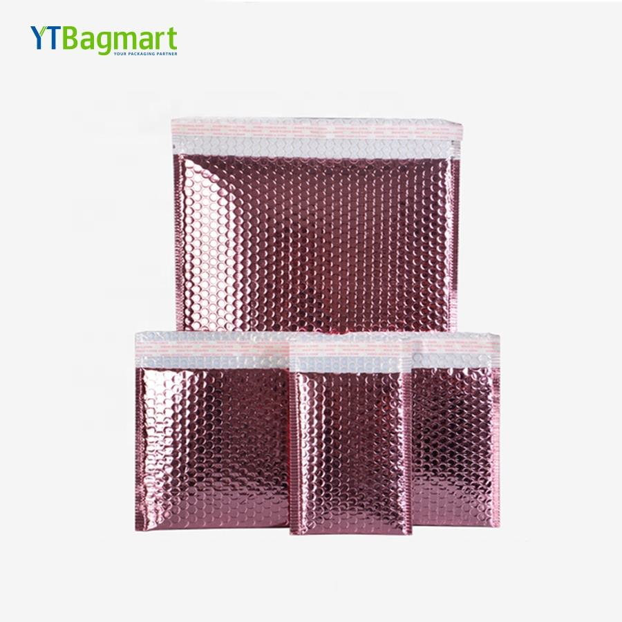 Promotional Decorative Custom Colored Rose Gold Plastic Poly Bubble Mailers Padded Envelopes