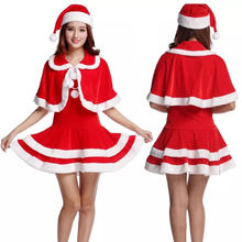Christmas party suit adult hooded velvet santa claus girl dress costume for women