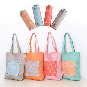 Hot sale Cheap reusable polyester garment storage tote foldable folding shopping bag