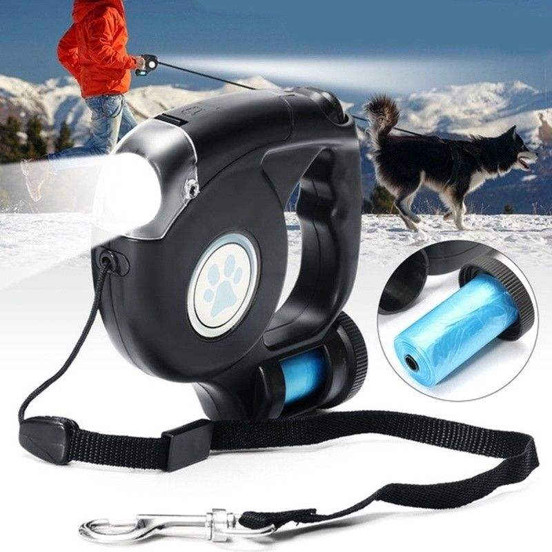 LED Light flashlight and bag Retractable Dog Leash with Waste Bag Dispenser