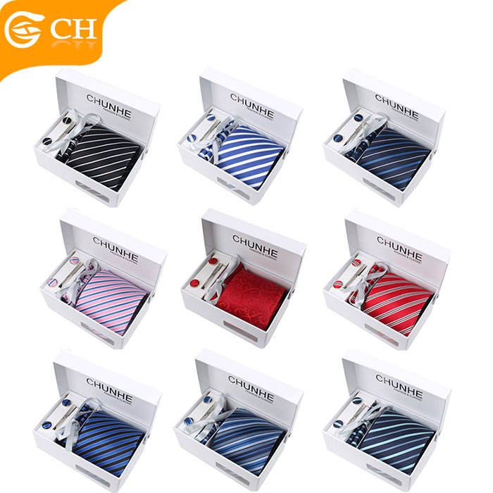 Cheap Custom Strip Fashion Style Ready Polyester Neckties Mens Ties Set Box