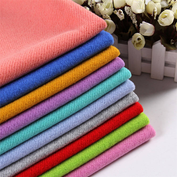 Cheap 100% polyester woven brushed wool felt melton fabric stock lot