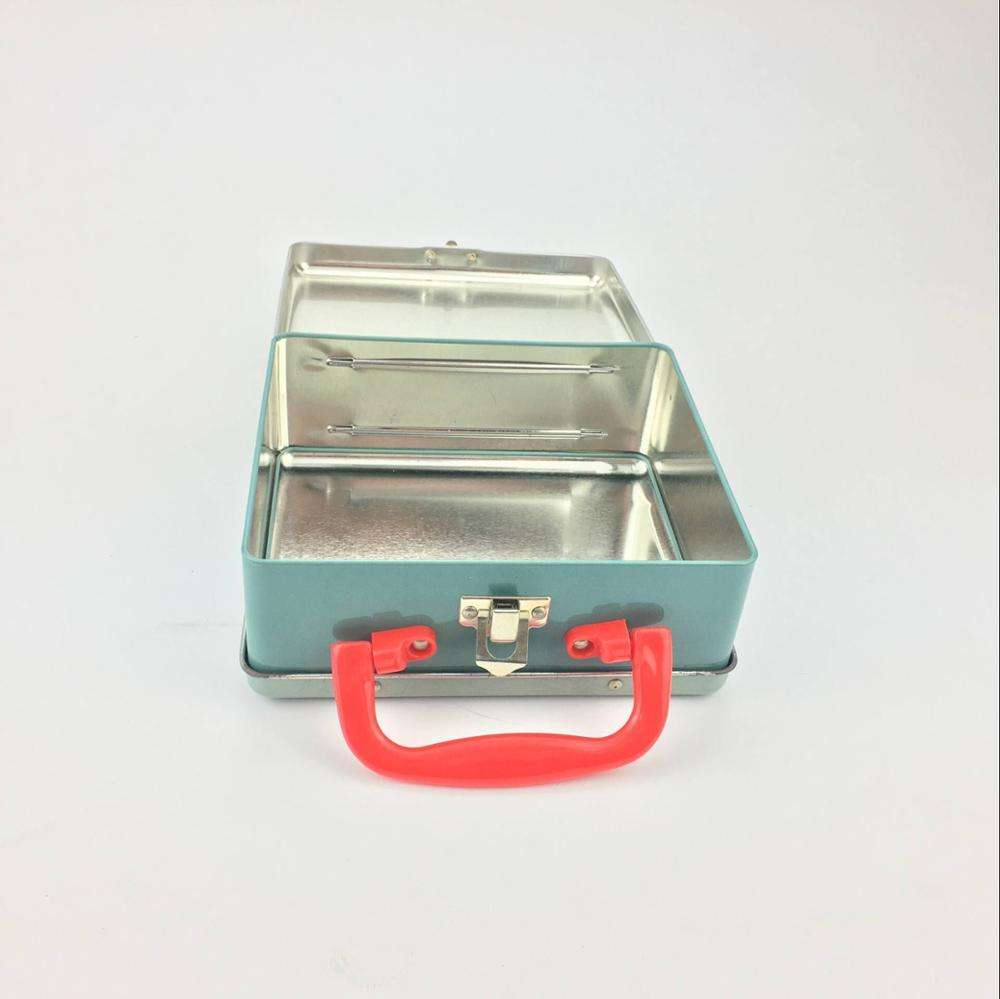 Metal Tinplate Storge Case with Portable Handle for Kids Play