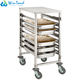 Stainless steel mobile rack food trolley cart with work table