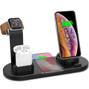 Wireless Charger Stand 6 in 1 Wireless Charging Station for iPhone Xr/Xs/Xs Max/X/8/8Plus/Apple iWatch/AirPod