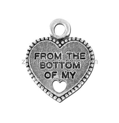 Nice quality silver from the bottom of my heart wholesale charm