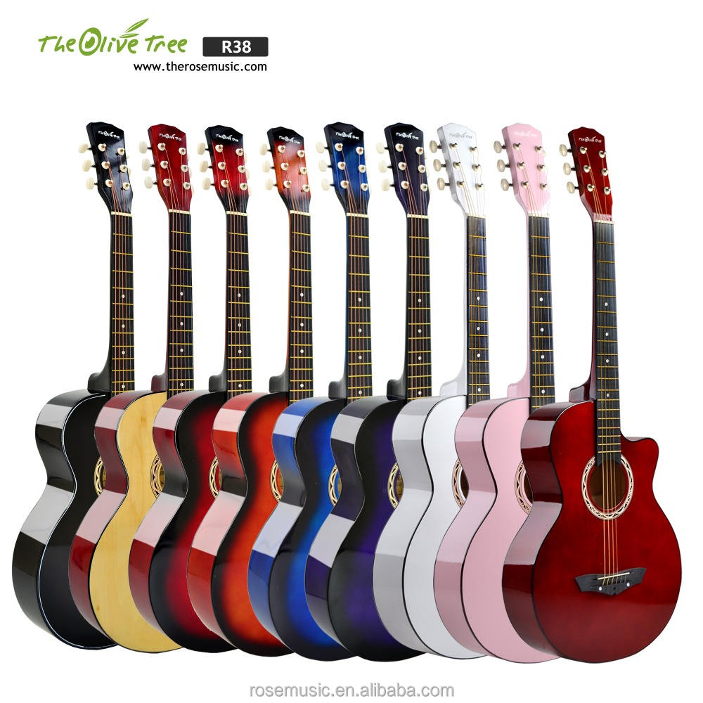 China guitar factory wholesale beginner colorful 38 inch linden practice student beginner acoustic custom guitar