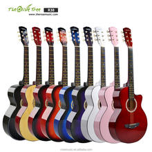 China guitar factory wholesale beginner colorful 38 inch linden practice student acoustic guitar