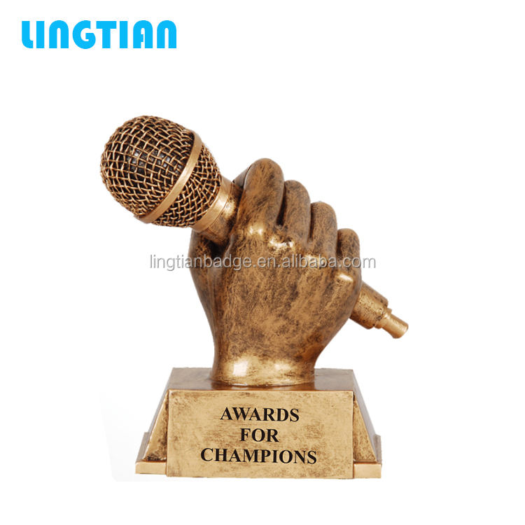 LINGTIAN Custom Funny Music Trophies Metal Singing Trophy