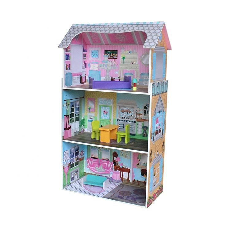 Diy coastal villa doll house ministure Beautiful excellent material wooden doll house suppliers
