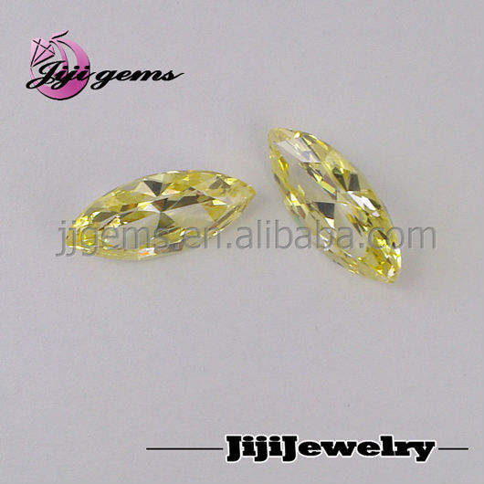 guangxi synthetic marquise light yellow cz loose gem rough