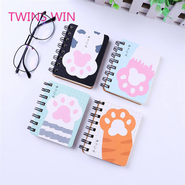 2019 new cheap stationery set gift set animal ootprint design sprial small paper note book with logo custom printing 1149