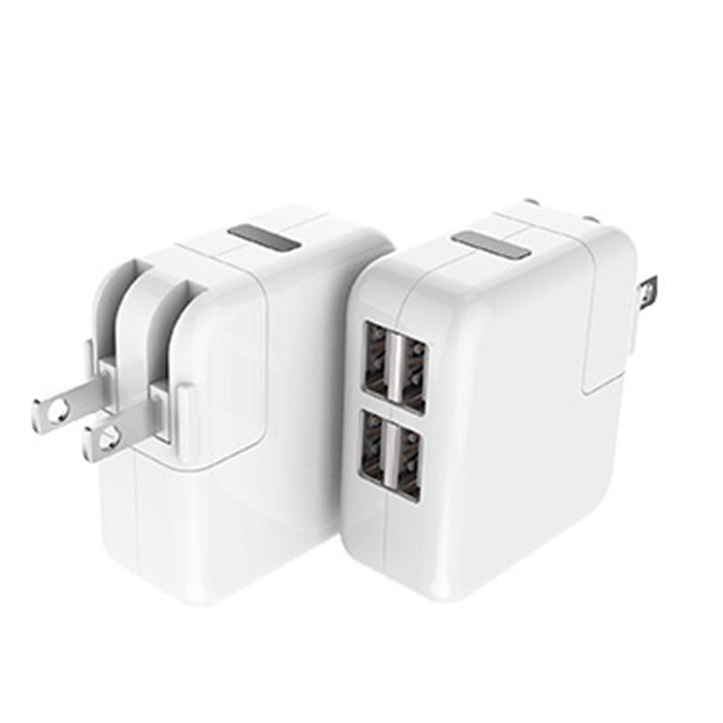 5 V 2.1A Travel Wall Charger, 4-Port USB Power Adapter met Opvouwbare Flug voor iPhone, iPad en Andere Mobiele Telefoon, Tablet