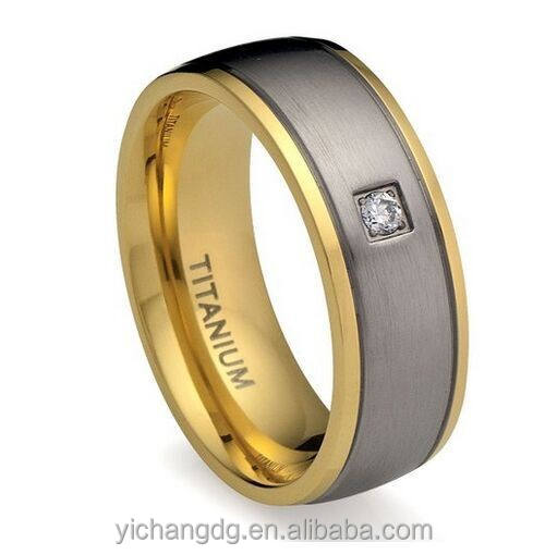 8MM Men's Titanium Ring Wedding Band 18K Gold Plated with Diamond