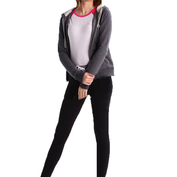 Customized best-Selling ladies velour leisure suit made of 80%cotton20%poly with hoody and full zipper