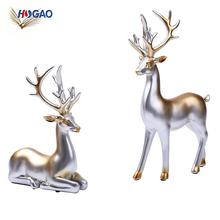 Home decor creative european style home furnishing China new innovative product home decor craft figurines silver resin deer
