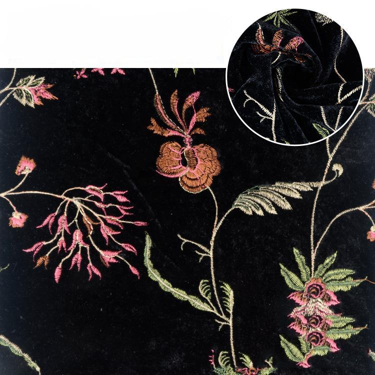 Velvet Fabric Florals China Suppliers Knitted Weft Fleece Silk Embroidered Velour Velvet Fabric Florals
