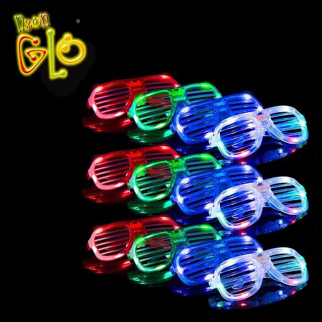 Alibaba China Wholesale Party Favors Colorful Led Light Up Shutter Sunglasses