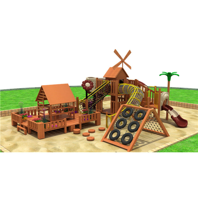 Fun Kids Outdoor Wood Material Playground Equipment Set with Plastic Slide for Children