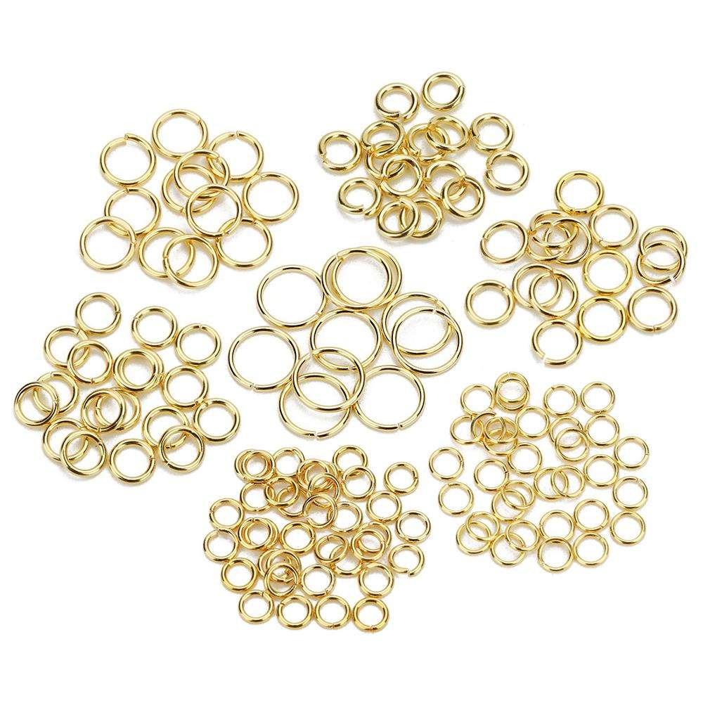 100 Pieces 4mm Stainless Steel Open Jump Ring DIY Connector 22K Gold Plated