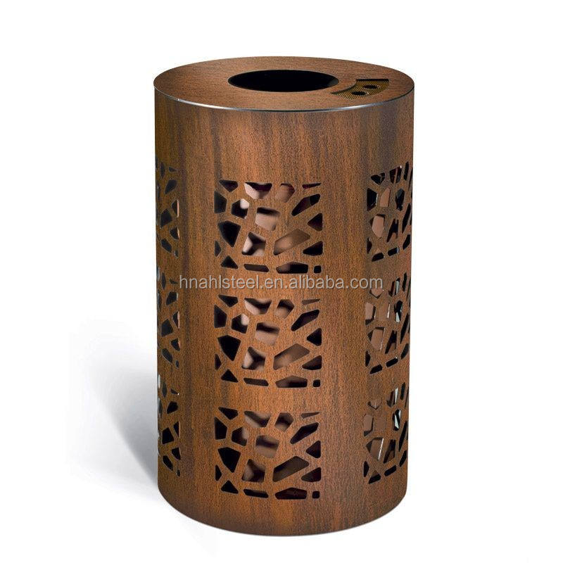 Classical antique rusty red corten steel metal litter bin for urban street