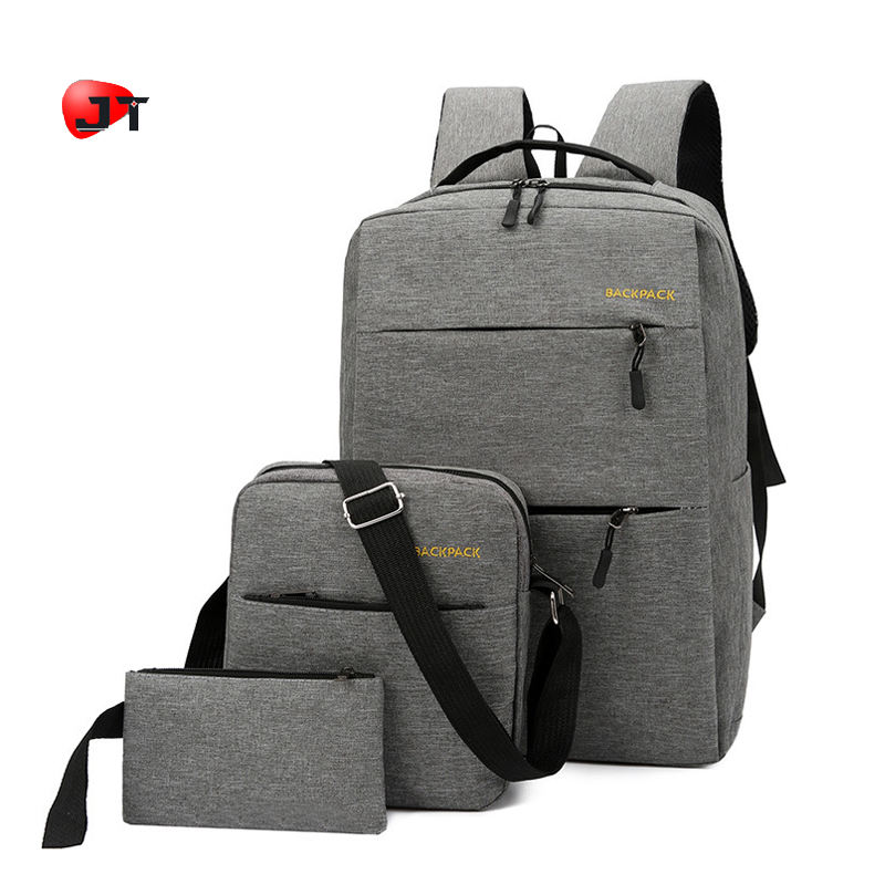 High Quality Grey Oxford USB Charging Student Backpack Set 3 In 1 School Bags Kids Backpacks For School Children