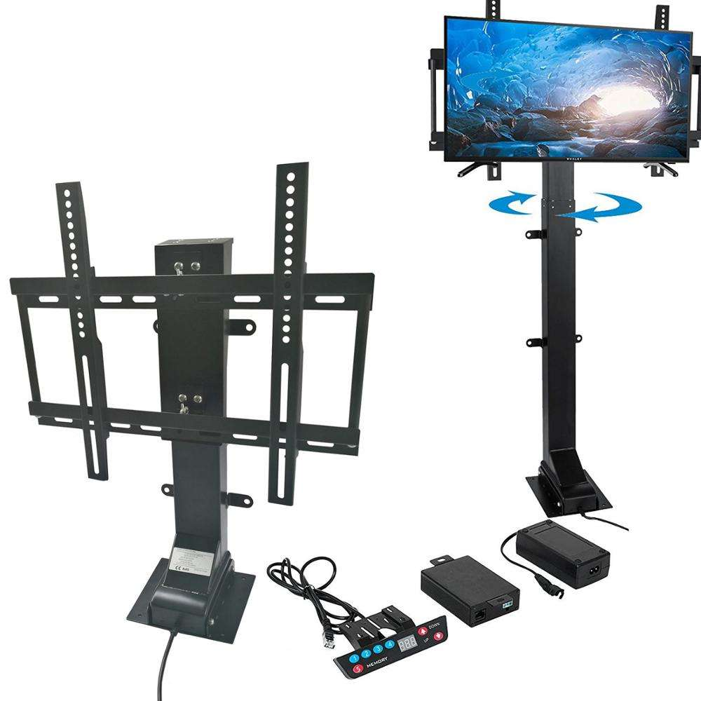 Swivel electric height adjustable tv lift mechanism motorized tv lift with remote control floor standing vesa mount tv stand