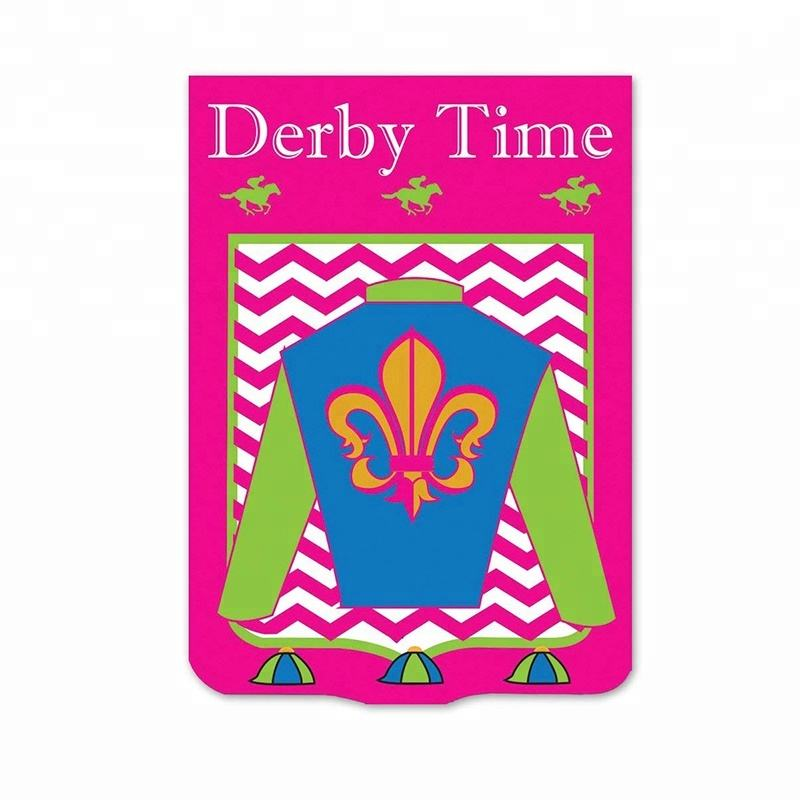 Custom Cheap Derby Time Jockey And Horse Shape Double Applique Small Garden Flags
