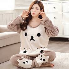 Factory Autumn and Winter Women Pyjamas Sets Thick Keep Warm Flannel Long Sleeve Female Cartoon Bear Animal Pants Sleepwear