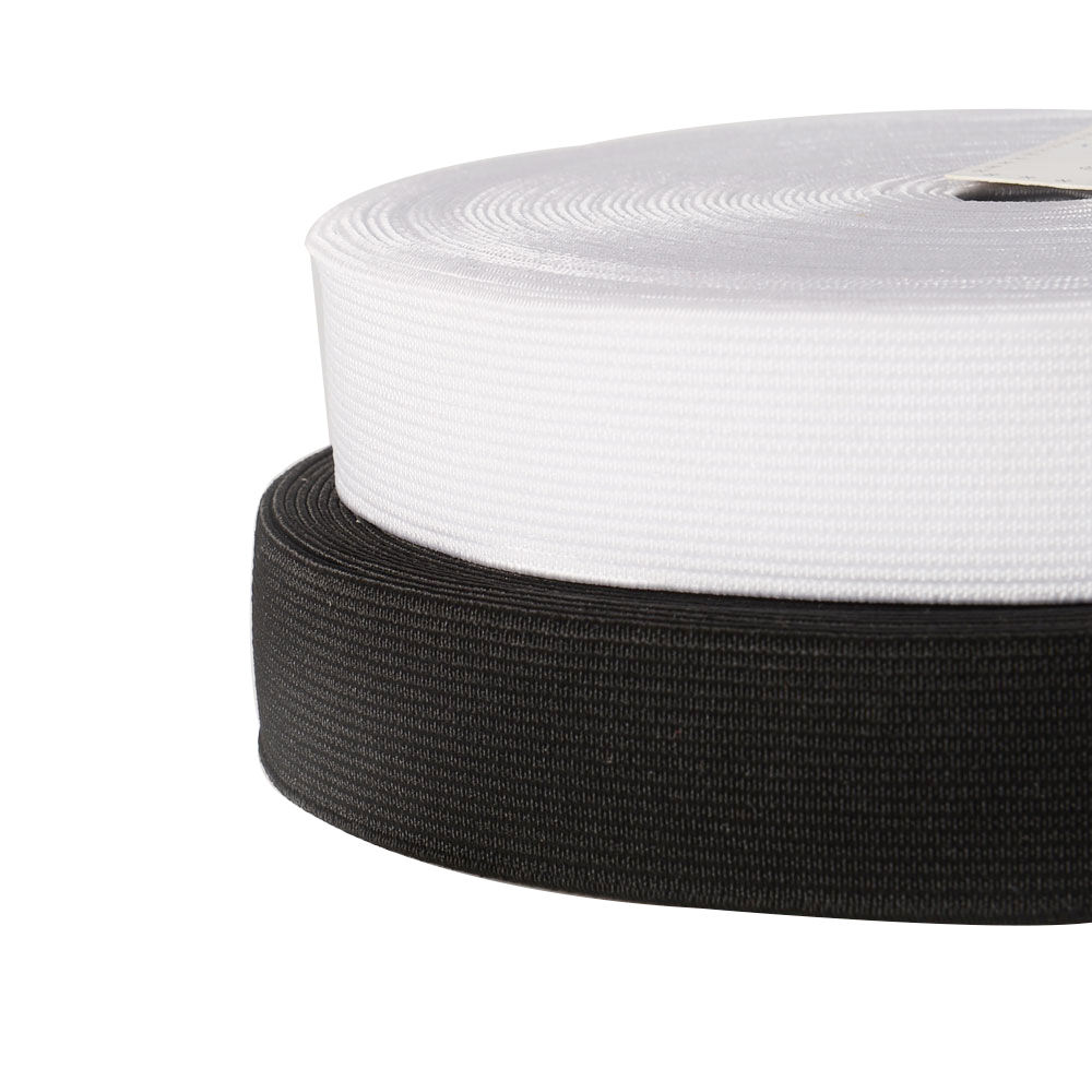25mm White/Black Flat Woven Latex Elastic Band Webbing Manufacturer